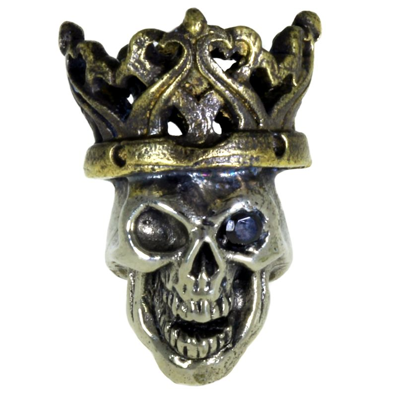 Cursed King in Brass/White Brass w/Black Onyx Eye (Black Patina Crown) by Covenant Everyday Gear